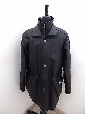 Vintage Wilsons Leather Black Jacket Coat with zip-out lining Men's Size L Large