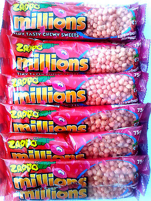 12 x Zappo Millions Strawberry Flavour Tiny tasty Chewy Sweets Lollies