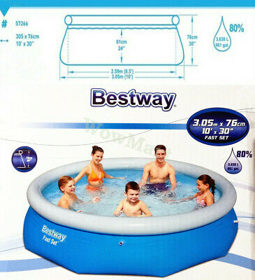 Bestway Inflatable Family 10 Foot Fast Set Pool (305cm * 76cm) #57266 + PE Cover