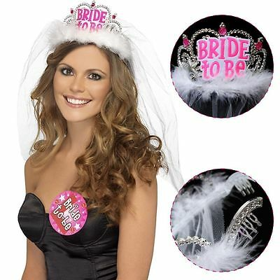 Bride To Be Tiara & Veil Hen Party Do Girls Night Out Accessories Wedding AU