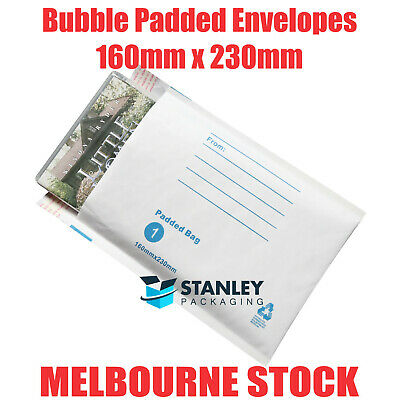 200x Bubble Envelope 160x230mm #01 Padded Bag Mailer 160mm x 230mm White Printed