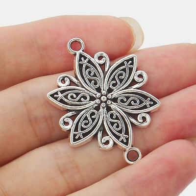 Large Flower Charms Pendants Connector Tibetan Silver Tone Jewelry Accessories