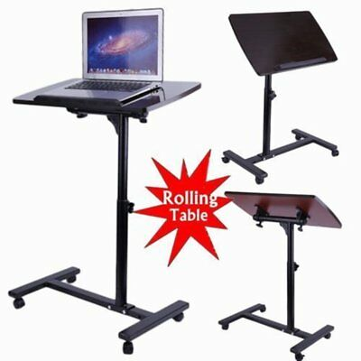 Drive Medical Overbed Laptop Food Tray Rolling Table Adjustable Hospital Desk OY