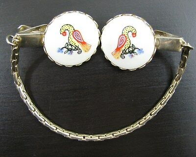 Vintage Sweater Guard Gold Chain White Tropical Bird Round Clips Pat Marked