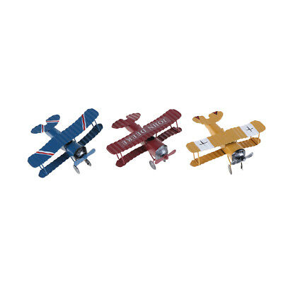 Home Decor Vintage Metal Plane Model Glider Biplane Pendant Airplane Model Toy~*