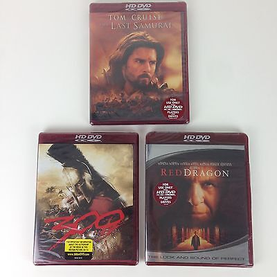 3x HD DVD Movies 300 Last Samurai Red Dragon Sealed - FOR HD DVD PLAYERS ONLY