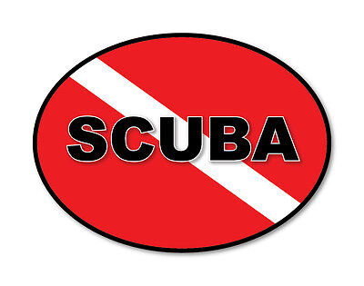 2 x SCUBA DIVING RED FLAG OVAL Car Van Lorry vinyl Self Adhesive stickers