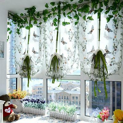 Pastoral Tulle Window Roman Curtain Embroidered Sheer For Kitchen Living Room