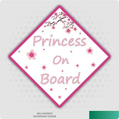 Princess Baby On Board Pink Flowers Girl Child Safety Sticker Car Vehicle Signs