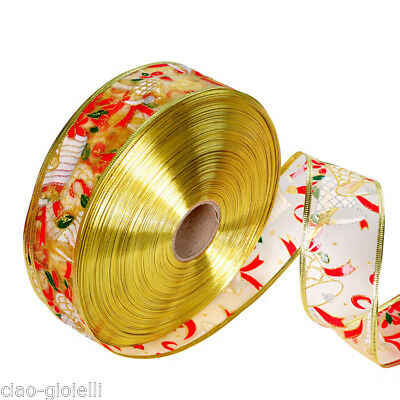 Christmas Tree Decoration Santa Bell Stamping Silk Satin Ribbon Gifts Wrapping