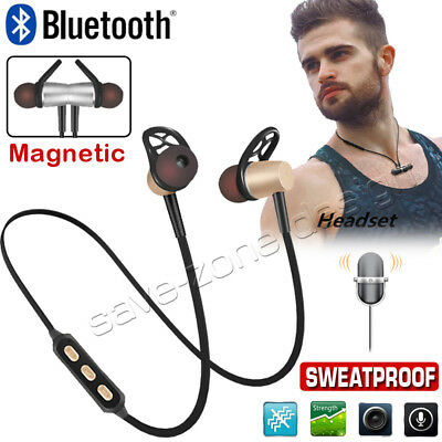 NEW Sweatproof Wireless Bluetooth 4.1 Headphones Earphones Headset Sport Gym Mic