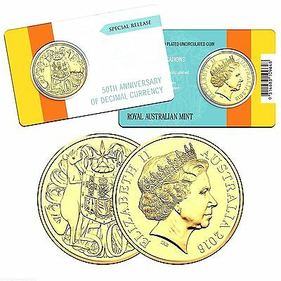 2016 50th Anniversary Of Decimal Currency Gold Plated Round 50 Cent Coin RAM**