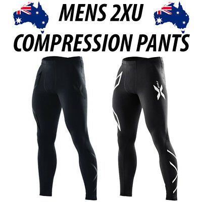 Men's 2XU Compression Skins Pants Long Tights - Silver OR Black (Size L) **NEW**