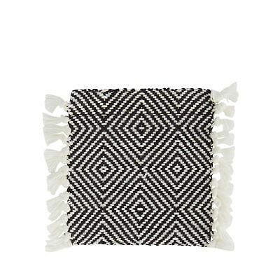Home Collection Set Of Four Black And White Geometric Woven Coasters