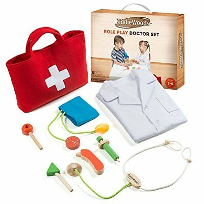 Kiddie Woods Wooden Toy Doctor Kit for Kids, Pretend Medical Play Set for Boys a