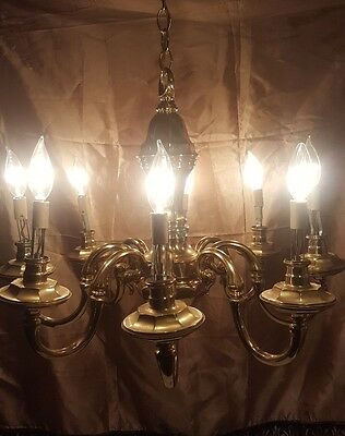 Vintage Lamp Chandelier 8 Arm Solid Brass ITALIAN Style ceiling light Heavy