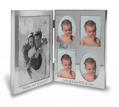 """Personalised 5""""x7"""" Double Silver Photo Frame - Engraved With Your Message"""