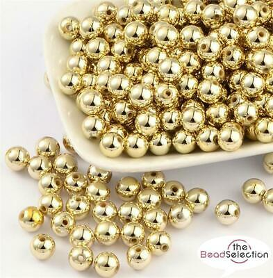 PREMIUM QUALITY GOLD PLATED ACRYLIC SPACER BEADS 4mm 6mm 8mm 10mm ACR22