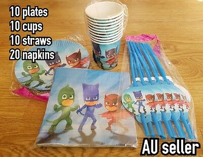 50 x PJ MASK party supplies plates napkins cups straws Pj mask paty for 10 kids