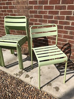 5 X Stacking Chairs Mint Green Industrial Metal Bistro School Chairs 5 Available