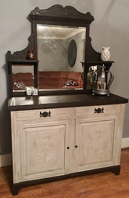 Beautifully re-loved Antique Mirror-Back Dresser With Lead-Lined Wine Cooler
