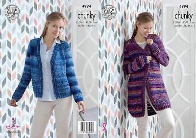 Womens Lace Detail Cardigan Jacket Ladies Chunky Knitting Pattern King Cole 4994