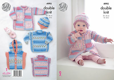Baby Double Knitting Pattern Ribbed Coat Jumper Tabard Gilet Hat King Cole 4995