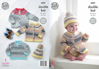 Baby Double Knitting Pattern Raglan Sleeve Cardigans Sweater Hat King Cole 4997
