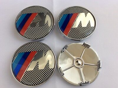 4x Awesome M SPORT Power Fits BMW MOST SERIES 68mm ALLOY WHEEL CENTRE CAPS 5 Pin