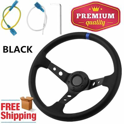 "NEW 14"" 340mm Deep Dish Steering Wheel For Racing Drifting Black Spars PU UK"