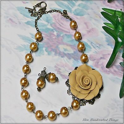 Golden rose and pearl necklace and earrings set, clip on or pierced fittings