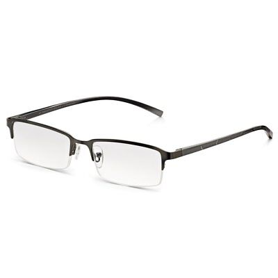 Mens Half Frame Reading Glasses with Spring Hinges: Stylish Clear Lens Readers