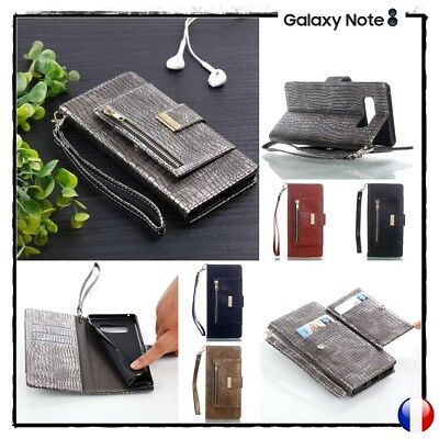 Etui housse coque porte cartes Croco Samsung Galaxy Note 8 Wallet Case Cover