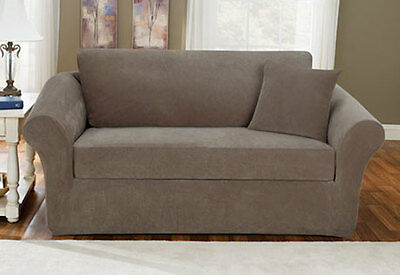 Sure Fit Sofa Slipcover Stretch Pique Taupe W Loose Back Cushion