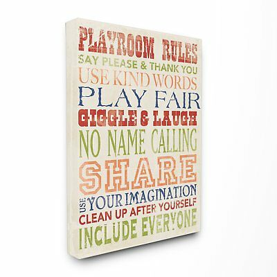 The Kids Room by Stupell Playroom Rules in Four Colors Canvas Wall Art