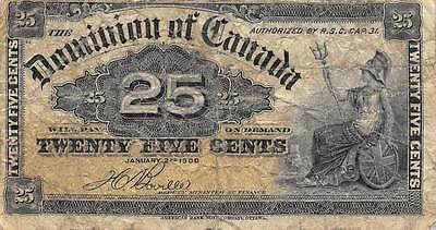 canada  25 Cents  1.2.1900  Circulated Banknote LB624jW