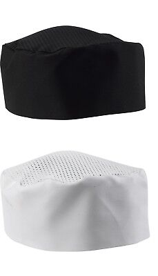 Mesh Top Skull Cap Professional Catering Chef Hat Black White Pack 1 or 5