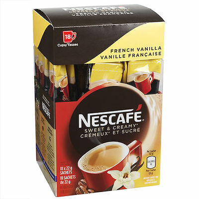 2 Boxes Nescafe Sweet & Creamy French Vanilla  Instant Coffee Mix 18 Sachets