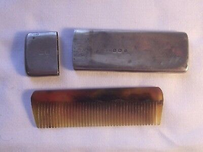 Antique Moustache Comb In Sterling Silver Case 1912