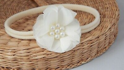 Cream baby hair band, chiffon flower for baptism, christening, wedding Handmade