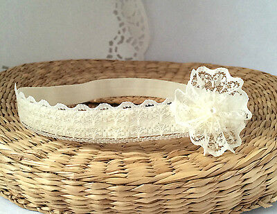 Baptism handmade headband, ivory baby hair band christening wedding tiara flower