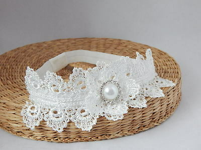 Lace headband, off white baby hair band, baptism, wedding, christening flower
