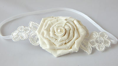 Baby ivory headband rosette and lace hair band for baptism, wedding UK Handmade