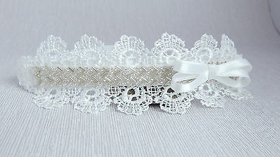Lace tiara headband off white baby hair band, baptism, wedding, christening bow