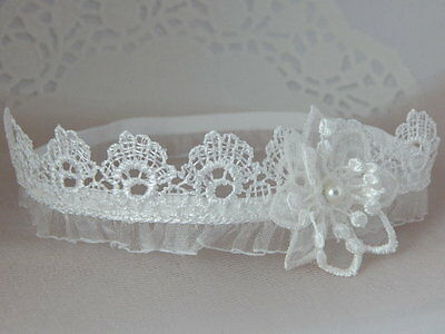Lace headband, off white baby hair band, baptism, wedding, christening crown