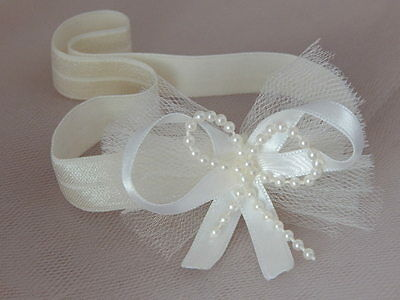 Ivory tulle baby bow headband hair band for christening baptism wedding,
