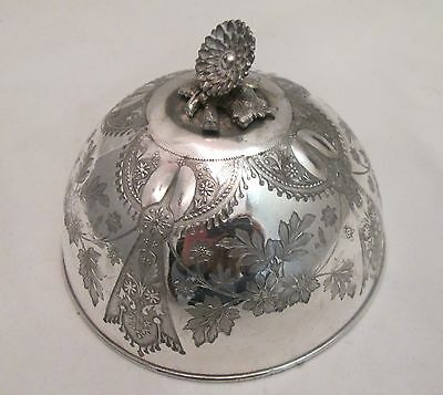 A Small Victorian Ornate Silver Plated Dish Cover - Flowers