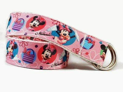 Belt for children Minnie Mouse hook and loop D-ring toddlers Handmade pink belt
