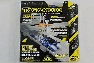 Tagamoto Code The Road Set W Toll Booth & Checkmate Race Car Over 20 Pc  Playset