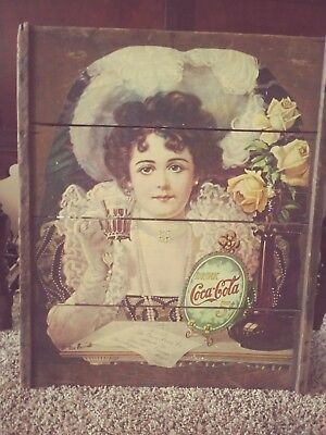 """Coca Cola Picture Vintage Beautiful Rose Girl Crate  Wall Hanging 29"""" X  24"""""""